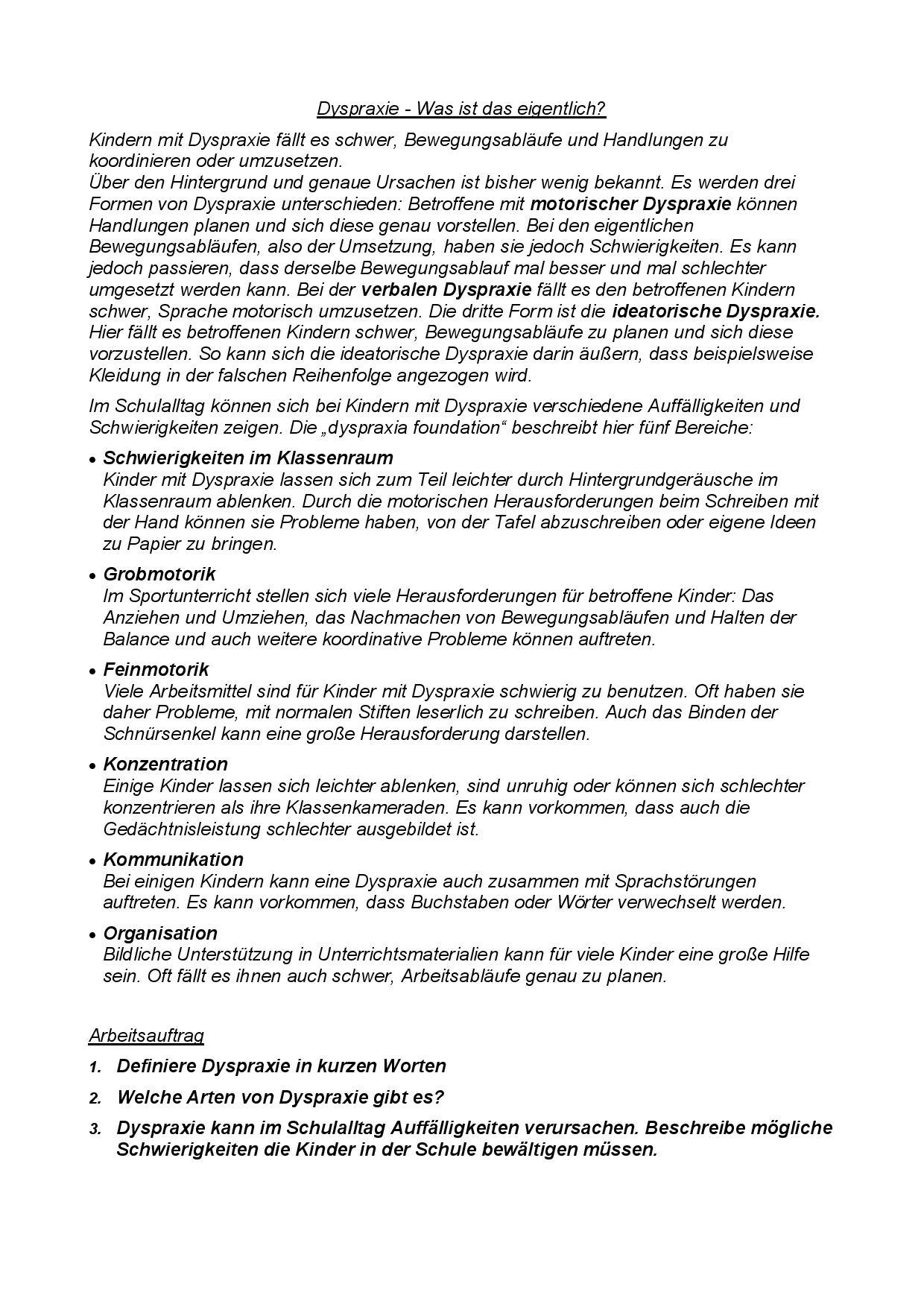 Dyspraxie Online - das Informationsportal in Deutschland zum Thema ...